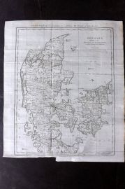 Lyttleton 1811 Antique Map. Denmark Divided into Dioceses and Prefectures